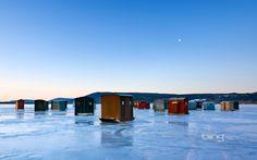 Ice fishing huts, La