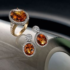 red and white gold citrine and diamond ring, & white gold citrine and diamond earrings Somerset West, Red And White, White Gold, Fine Jewelry, Jewellery, Jewelry Collection, Diamond Earrings, Gemstone Rings, Seasons