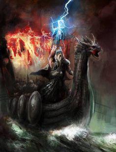 Thor, on a mighty ship built for the Gods, called Skíðblaðnir.