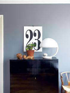 Great colour scheme and love the big number Vignettes, Paint Colors, Color Schemes, Buffet, Colours, Cabinet, Living Room, Storage, Inspiration