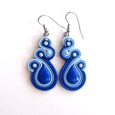 Handmade Cobalt Dark Blue Long Dangle Swirl Decorative Statement Sunny Holiday Colorful Bridal Bridesmaid Wedding Party Earrings Jewelry