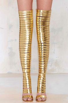 Gladiator Boot Trend - Gold Thigh High Boots