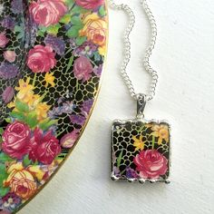 Ecofriendly jewelry handcrafted from broken antique chintz china by Laura Beth Love