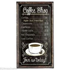 COFFEE-SHOP-MENU-EMBOSSED-TIN-SIGN-HOME-RESTAURANT-DECOR-FREE-SHIPPING