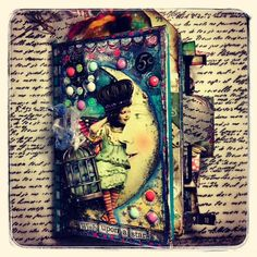 Created Altered Art Journal book cover for Retro Cafe ART Gallery -Blue Moon collage sheet -Girl in the Moon collage sheet -washi tape star themed