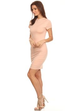 Short Sleeve Body Con Dress JUST IN