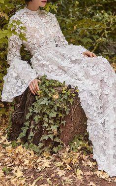 Costarellos Bridal Floral Applique Dress