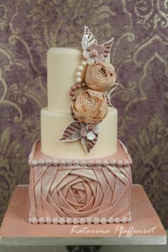 Wedding cake with fabric flowers and draping by Tortenherz - http://cakesdecor.com/cakes/256883-wedding-cake-with-fabric-flowers-and-draping