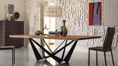 Buy the Skorpio Wood Dining Table by Cattelan Italia from our designer Tables collection at Chaplins - Showcasing the very best in modern design. Dining Table Design, Solid Wood Dining Table, Dining Room Table, Italian Furniture, Modern Furniture, Furniture Design, Luxury Furniture, Moderne Lofts, Esstisch Design