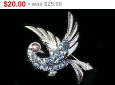 Lisner Bird Brooch - Blue Rhinestone Designer Signed Jewelry - Vintage Figural Birds Pin