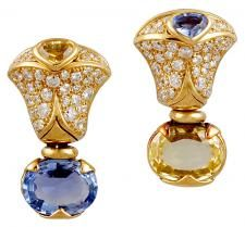 MARINA B. Diamond, Blue & Yellow Sapphire Earrings - Yafa Jewelry