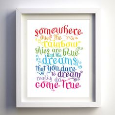 Somewhere Over The Rainbow Song Print Bright Nursery Decor Kids Room Wall Art Boys Girl Nursery Prints Modern Kids Room Lyrics Wall Print by FancyPrintsforHome on Etsy https://www.etsy.com/listing/181512216/somewhere-over-the-rainbow-song-print