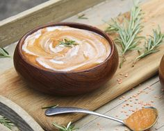 Creamy rosemary & tomato soup with sweet potatoes, lentils & coconut by Trinity. #glutenfree #dairyfree #vegan