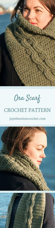 The Ora scarf crochet pattern is a intermediate crochet pattern design from Joy of Motion. Try crocheting cables with this easy cable crochet pattern. Crochet Gloves, Crochet Beanie, Crochet Scarves, Crochet Shawl, Crochet Stitches, Easy Crochet Patterns, Crochet Ideas, Beautiful Crochet, Shawls And Wraps
