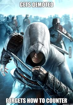 And he also forgets how to throw knives, regain his balance, and use the blade his order is known for....Altaïr problems....