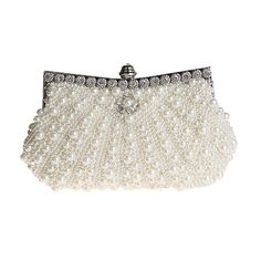 Sumolux Summer New Women's Beautiful Pearls Fashion Clutch Evening Bag Party Purse Collection Bag Clasp flap closure Handbag Beiqe: Amazon.co.uk: Luggage