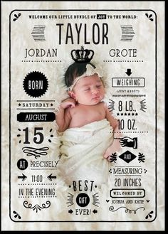 Send your friends and family all the details about your newest member of the family with this perfectly crafted baby birth announcement card. Newborn Pictures, Baby Pictures, Birth Announcement Photos, Birth Announcements, Announcement Cards, Baby Arrival Announcement, Photo Bb, Foto Newborn, Foto Baby