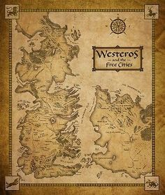 "Game Of Thrones Houses Map Westeros TV Show Fabric Poster 28"" x 24"" Decor 56"