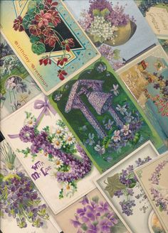 Lot of 25 Beautiful *Purple~ Violets Flowers ~Antique Greetings Postcards-a647