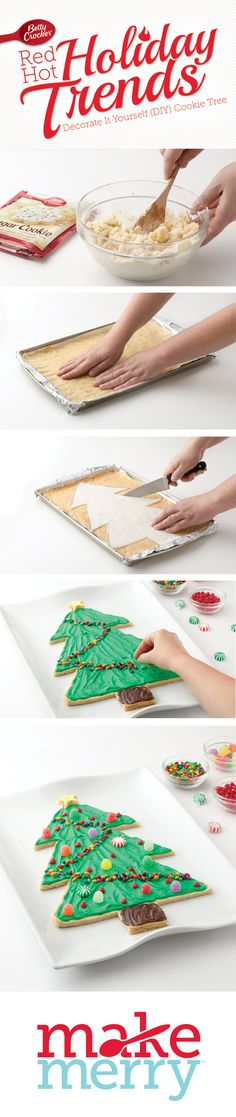 The whole family will have a blast decorating this yummy sugar-cookie tree. Assembly is a snap with the downloadable template, so you can focus on making sweet (literally) memories with the kids. Feel free to make the cutout cookie a day in advance; just cover in plastic or foil until it's decorating time.