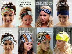 ***Choose any TWO STYLES for $20, Save on Set** (40 COLOR CHOICES) - type choices in the Note to Seller field during checkout  These headbands are made from either Cotton, stretchy chiffon, poly chiffon or stetchy cotton Jersey. All are made with stretch elastic in back for all day comfort and style. Wide Style that can be worn wide or narrow.  Great for those days when you want your hair back or up in a quick cute bun or pony style. Convenient for those rush-on the go days or 2nd Hair…