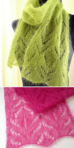 Knitting Pattern for One Skein Chalice Scarf - A very pretty lace pattern that o. Knitting Pattern for One Skein Chalice Scarf - A very pretty lace pattern that only uses basic decreases and yarn overs . Lace Knitting Patterns, Lace Patterns, Free Knitting, Crochet Bolero, Knit Crochet, Loom Knitting Blanket, Bothy, Cowls, Fingers