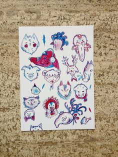 postcard bluered di theberingsea su Etsy