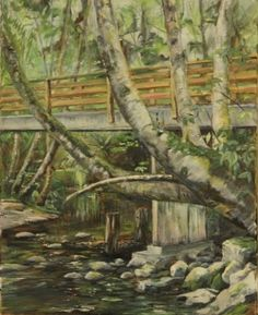 Plein Air - Mallard Creek Walking Bridge – Oil on Canvas - Paintings by Stephen Cole