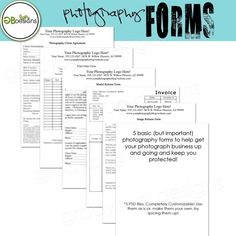 Photography Forms--- Templates for Photographers - Invoice, Image Release, Model Release, Print Order From, Client Agreement and Contract. $35.00, via Etsy.