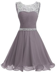 Dresstells® Short Chiffon Open Back Prom Dress With Beading Homecoming Dress Grey Size 6