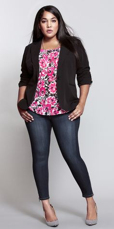 The perfect spring look...flirty floral top, sexy Stiletto jean & striped shoes. <3 #ShopByOutfit