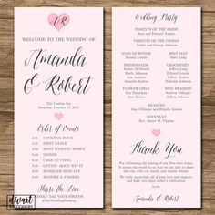 Wedding Program, Ceremony Program, Order of Events - PRINTABLE files - double-sided - blush pink hearts - custom color, size, font - Jodi by DIVart on Etsy