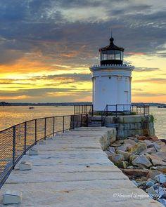 Portland Breakwater Lighthouse, South Portland, Maine, at entrance to Portland Harbor.