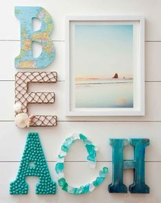 Decorated Letters with a Coastal Beach Theme. 10 DIY Ideas for how to decorate letters with a coastal and beach theme, plus a book. Featured on Completely Coastal. kids, 10 Ideas for Decorative Letters with a Beach & Coastal Theme Beach House Decor, Diy Home Decor, Beach Houses, Beach Room Decor, Beach Cottages, Beach House Bedroom, Art Decor, Deco Marine, Beach Theme Bathroom