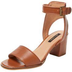 Ava & Aiden Women's Cork Heel Two-Piece Sandal - Cognac, Size 10