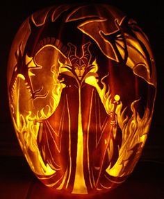 April means time to start pumpkin seedlings. Here is an awesome carving of Disney& Maleficent and her dragon while we wait for this year& crop to sprout. Disney Halloween, Halloween Jack, Holidays Halloween, Halloween Pumpkins, Halloween Crafts, Happy Halloween, Halloween Decorations, Halloween Party, Halloween Quotes