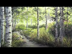 Watch an artistic, birch tree landscape with vivid colors, filled with sunlight being crafted in oil paint. Canvas Painting Tutorials, Acrylic Painting Techniques, Oil Painting Lessons, Painting Videos, Nature Paintings, Landscape Paintings, River Painting, Kid Painting, Kevin Hill Paintings