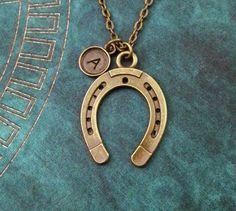 Brass horseshoe necklace