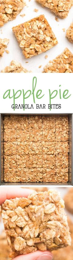 These healthy granola bars taste like apple pie! So easy, so good & just 30 calories! Perfect for grab-and-go snacks! These healthy granola bars taste like apple pie! So easy, so good & just 30 calories! Perfect for grab-and-go snacks! Weight Watcher Desserts, Healthy Sweets, Healthy Baking, Healthy Snacks, Healthy Recipes, Healthy Cereal, Snacks Kids, Yummy Snacks, Healthy Granola Bars