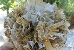 Paper Flower Wedding Bouquet Personalized Book Pages, Map Flowers or Sheet Music Bouquet on Etsy, $86.08 AUD