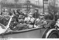 Nazi Party SA leaders Ernst Röhm, C-in-C, and senior leader Karl Ernst in an open-top automobile, Berlin, Germany, circa 1933. Both Röhm and Ernst were murdered by the SS on June 30, 1934 during the Night of the Long Knives when Hitler crushed the SA leadership and subjugated the SA to his total control.