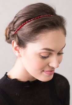 "Festive red    Download the  Stylist Marketing Pack  for this product.              Plating: Nickel      Glass, Elastic      Beaded Length: 16inches/40.5cm      Removable adjustable comfort elastic band              Elastic Color: Available in Black, Blonde, Brunette, or Silver      Elastic Length Standard: 4-5"" (10-13 cm), up to 6.5"" stretched      Elastic Length Long: 5.25-7.5"" (13-19cm), up to 10"" stretched"