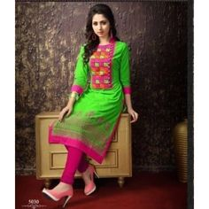 57c64dc61b Buy Parrot Green & pink colour cotton Printed embroidered kurta & kurti  online