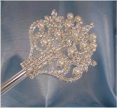 The Court of Versailles Royal Rhinestone & Pearls SILVER Scepter