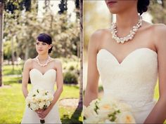 Pearl bridal Necklace chunky wedding necklace Swarovski pearl Crystal wedding necklace Wedding Jewelry rhinestone, Lillian. $118.00, via Etsy.