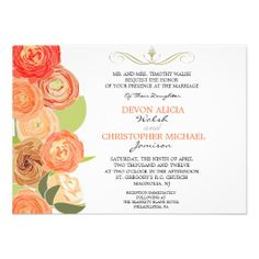 $3.10 each ($155 for 50) Abstract Ranunculus Fall Flowers Wedding Invite on Metallic Paper