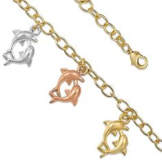 """Tricolor Tritone Ladies 7.5"""" Good Luck Dangling Dolphin Bracelet 14k yellow gold over Brass Fancy Ladies Charm Gift"""