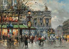 L'Opera , un café de la paix de Antoine Blanchard (Marcel Masson) (1910-1988, France)