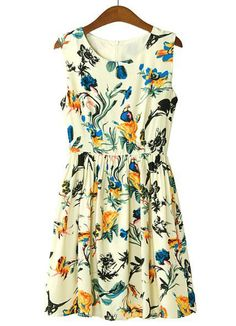 Apricot Sleeveless Floral Birds Print Pleated Dress - I want to wear dresses like this every day