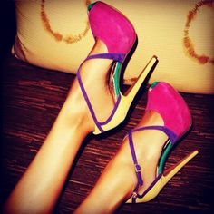 Multi color suede heels by the British designer Suede Heels, Stiletto Heels, High Heels, Bridal Shoes, Shoe Collection, Designer Shoes, Hot Pink, Shoe Boots, Christian Louboutin
